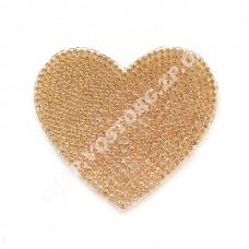 Термоаппликация стразы Сердце золотистое 6 см