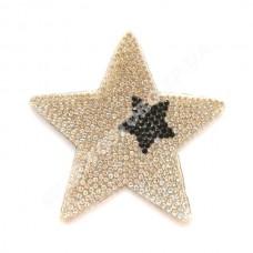 Термоаппликация стразы Звезда серебро с черным 7 см