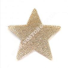 Термоаппликация стразы Звезда серебро 7 см