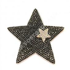 Термоаппликация стразы Звезда черная с серебром 7 см