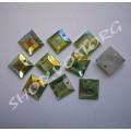 Камни пришивные пластик Квадрат 10 мм салатовые хамелеон, 20 шт