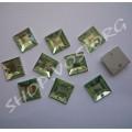 Камни пришивные пластик Квадрат 10 мм салатовые, 20 шт
