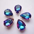 Камни в цапах стекло Капля 10х14 мм сине-розовые