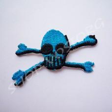 Термоаппликация Череп 3х5,5 см синий