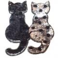 Аппликация с пайетками Коты 20 см черно-серебистые