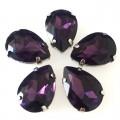 Камни в цапах стекло Капля 13х18 мм фиолетовые (Amethyst)