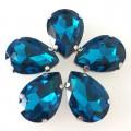 Камни в цапах стекло Капля 13х18 мм синий циркон (Blue Zircon)