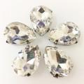 Камни в цапах стекло Капля 10х14 мм белый (Crystal)