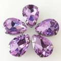 Камни в цапах стекло Капля 10х14 мм светло фиолетовые (Violet)