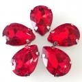 Камни в цапах стекло Капля 10х14 мм красные (Siam)