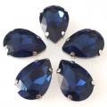 Камни в цапах стекло Капля 13х18 мм темно синие (Montana)