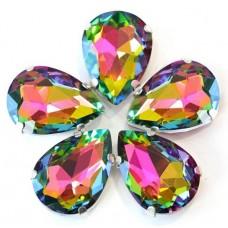 Камни в цапах стекло Капля 13х18 мм радужные (rainbaw)