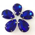 Камни в цапах стекло Капля 13х18 мм ярко синие (Royal Blue)