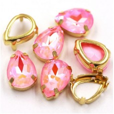 Камни в цапах стекло Капля 10х14 мм радужные розовые