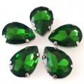 Камни в цапах стекло Капля 10х14 мм зеленые (Grass green)