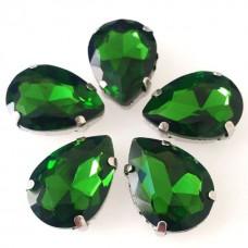 Камни в цапах стекло Капля 13х18 мм зеленые (Grass green)