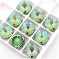Камни в цапах стекло Круглые риволи 12 мм радужные зеленые