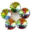 Камни в цапах стекло Круглые риволи 12 мм радужные (rainbaw)