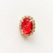 Брошь с пластиковым красным камнем 18x23 мм латунь