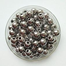 Бусина 6 мм серебро, 100 шт
