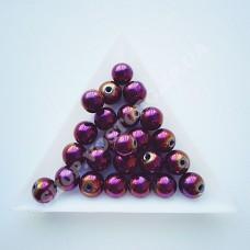 Бусина гематит фиолетовая круглая 8 мм