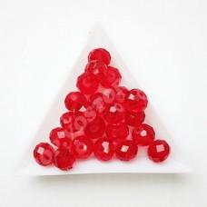 Бусина хрустальная рондель 8х10 мм красная