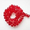 Бусина хрустальная рондель 8х10 мм красная, нить