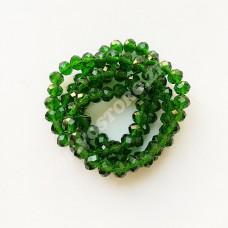 Бусина хрустальная рондель 4х6 мм зеленая, 1 нить