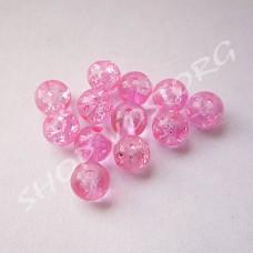 """Бусина """"Битое стекло"""" 6 мм розовая, 10 шт"""