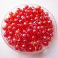 Бусина пластик 4 мм красная радужная, 100 шт