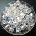 Бусина биконус стекло 6 мм прозрачная АВ, 5 шт