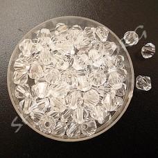 Бусина биконус пластик 6 мм прозрачная, 50 шт