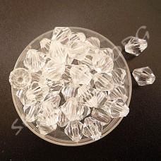 Бусина биконус пластик 8 мм прозрачная, 10 шт