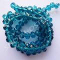 Бусина хрустальная рондель 4х6 мм синий циркон, 1 нить