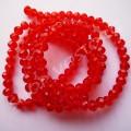 Бусина хрустальная рондель 3х4 мм красная, 1 нить