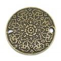 Коннектор (металлический лейбл) Круг цветок 19 мм антик