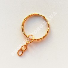 Кольцо двойное с цепью для брелка 25 мм латунь