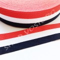 Лента репсовая 2 см полосы сине-бело-красная, 1 м