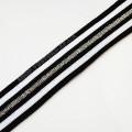 Лампасная резинка 2,5 см черно-белая с серебром