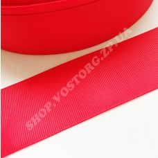 Лента репсовая 4 см красная, 1 м