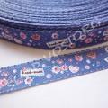 Лента атласная 1 см Hand-made синяя, 1 м