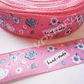 Лента атласная 2 см Hand-made розовая, 1 м