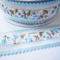 Лента декоративная 2,5 см зубчики голубая, 1 м