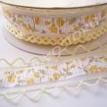 Лента декоративная 2,5 см с перфорацией желтая, 1 м