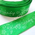 Лента атласная 2,5 см Happy Holidays зеленая, 1 м