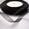 Лента органза 1 см черная, рулон