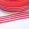 Лента репсовая 1,5 см полосы красно-белая, 1 м