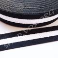 Лента репсовая 1,5 см полосы черная с белым, 1 м