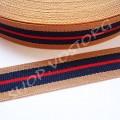 Лента репсовая 1,5 см полосы бежево-сине-красная, 1 м