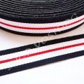Лента репсовая 1,5 см полосы черно-бело-красная, 1 м